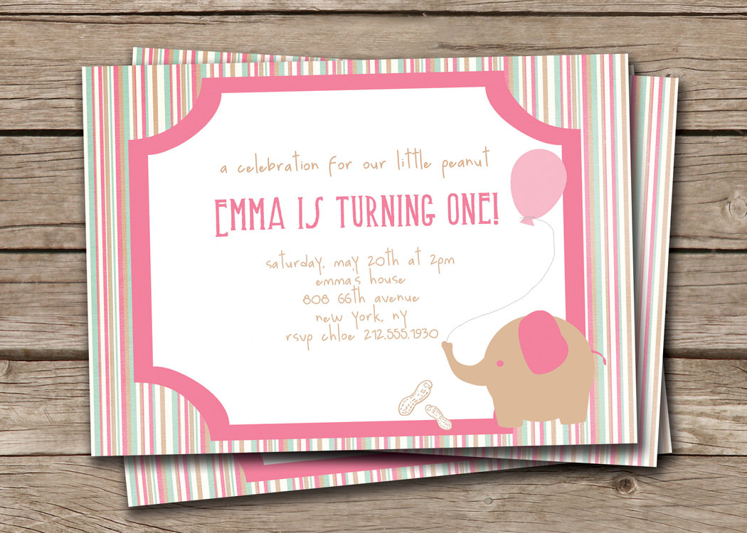 Elephant Birthday Invitation Little Peanut Baby First Girl Pink DIY Printable File Or I Print