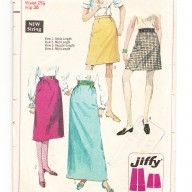 mini skrit, midi skirts, maxi skirts 1960s vintage sewing pattern