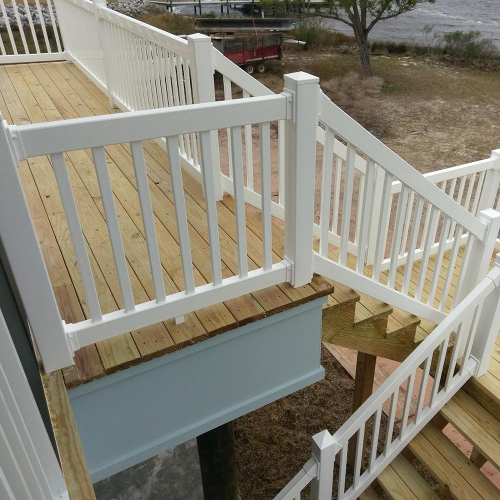 Weatherables Naples 3 Ft H X 8 Ft W White Vinyl Railing Kit Cwr R36 E8 The Home Depot Deck Designs Backyard Vinyl Railing Decks Backyard