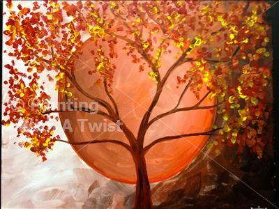 Harvest Moon You Choose Mason Oh Painting Class Painting With A Twist Moon Painting Autumn Painting Autumn Art