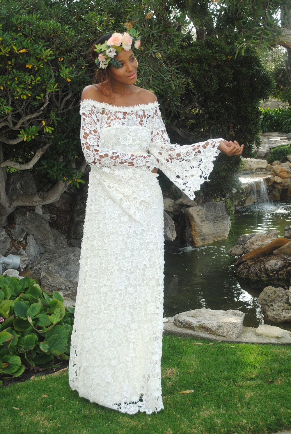 Handmade bell sleeve crochet lace bohemian wedding dress off