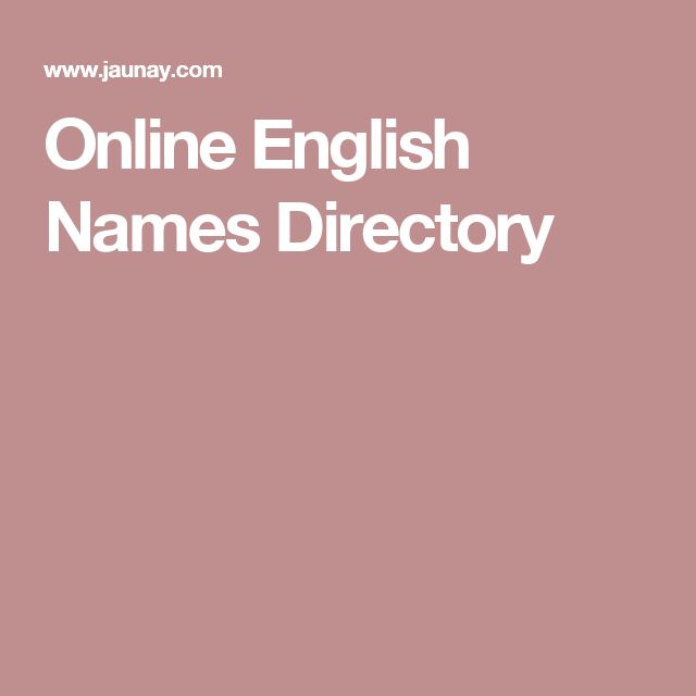 Online English Names Directory