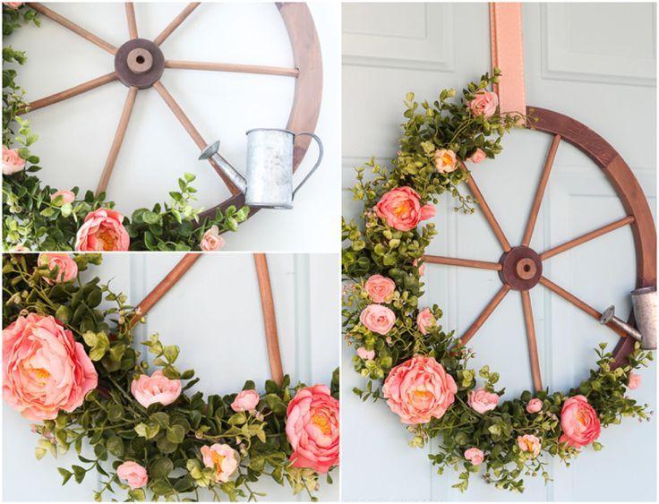 Ideen für schöne Herbstdeko mit Wagenrad innen und außen #weihnachtsdekohauseingangaussen