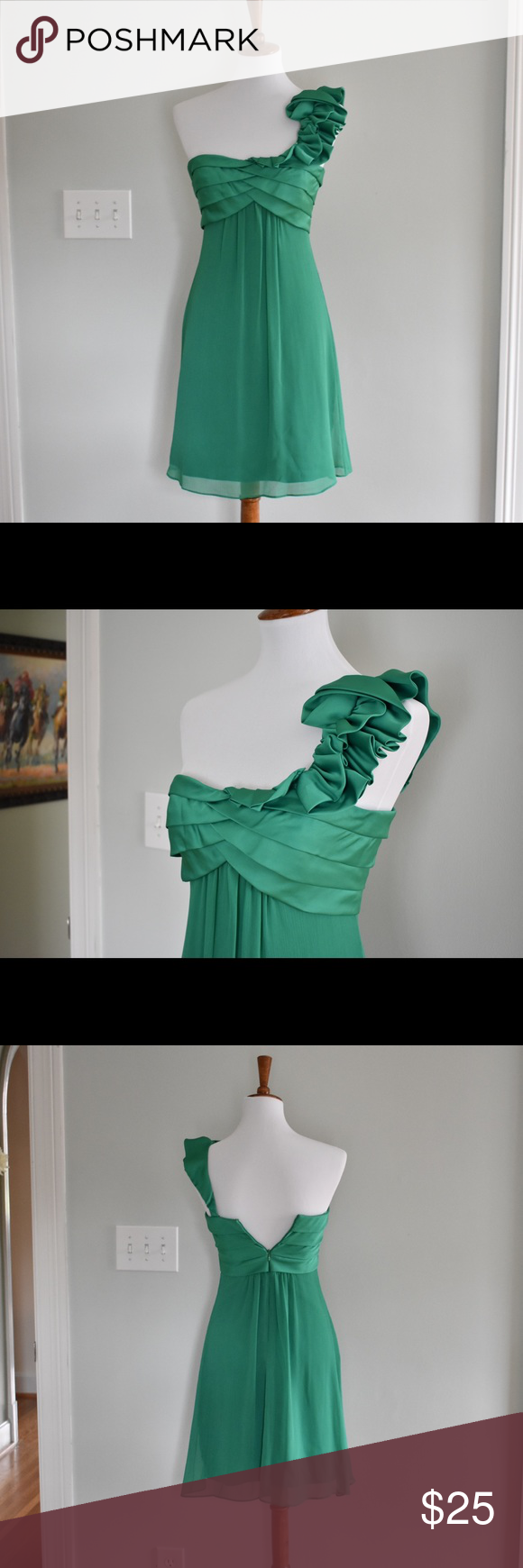 Green dress one shoulder  Max and Cleo Kelly Green Ruffle Dress  Pinterest  Kelly green