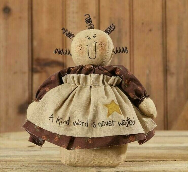 "Wholesale Country Primitive Home Decor: Primitive Doll Country 8"" A KIND WORD IS NEVER WASTED"