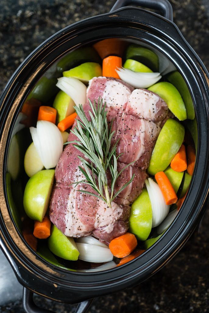 Slow Cooker Pork Roast With Apples Carrots And Rosemary Slow Cooker Pork Loin Slow Cooker Pork Slow Cooker Roast