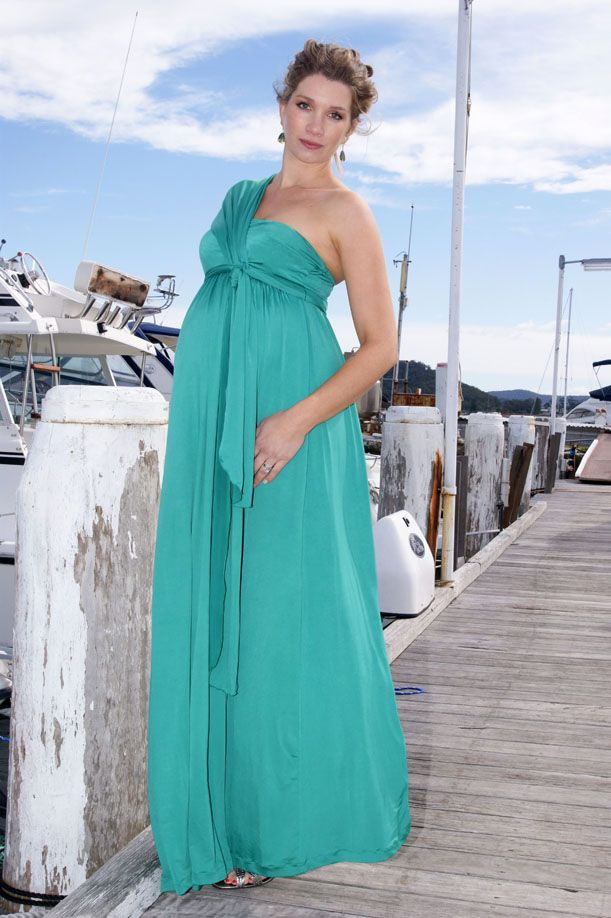Evangelista One Shoulder Maxi Dress in Jade Green by Lilly B ...