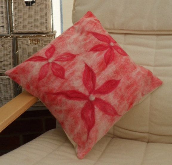Felt Cushion Cover Nuno Felted Red With Floral Detail