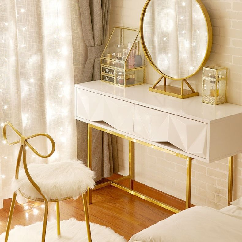 Modern Vanity Set With Mirror Gold White Dresser Table Set And Butterfly Chair Modern Vanity Bedroom Decor Inspiration Best Home Interior Design