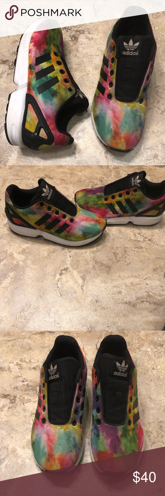6937a9a75d46d Adidas Torsion ZX Flux Rainbow 4Y Women s Size 6 Pre owned. Doesn t come  with original box. Condition rate of 7 10. These shoes don t come with  laces.