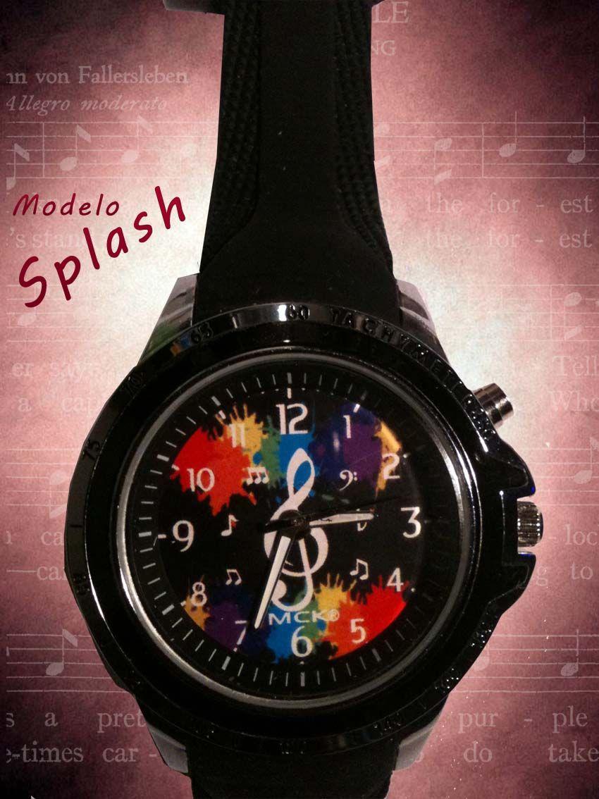 Reloj deportivo de caballero modelo splash con clave de sol.