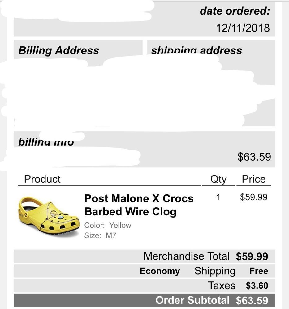 Crocs x Post Malone Barbed Wire Clog Men 7 *Confirmed* Drop