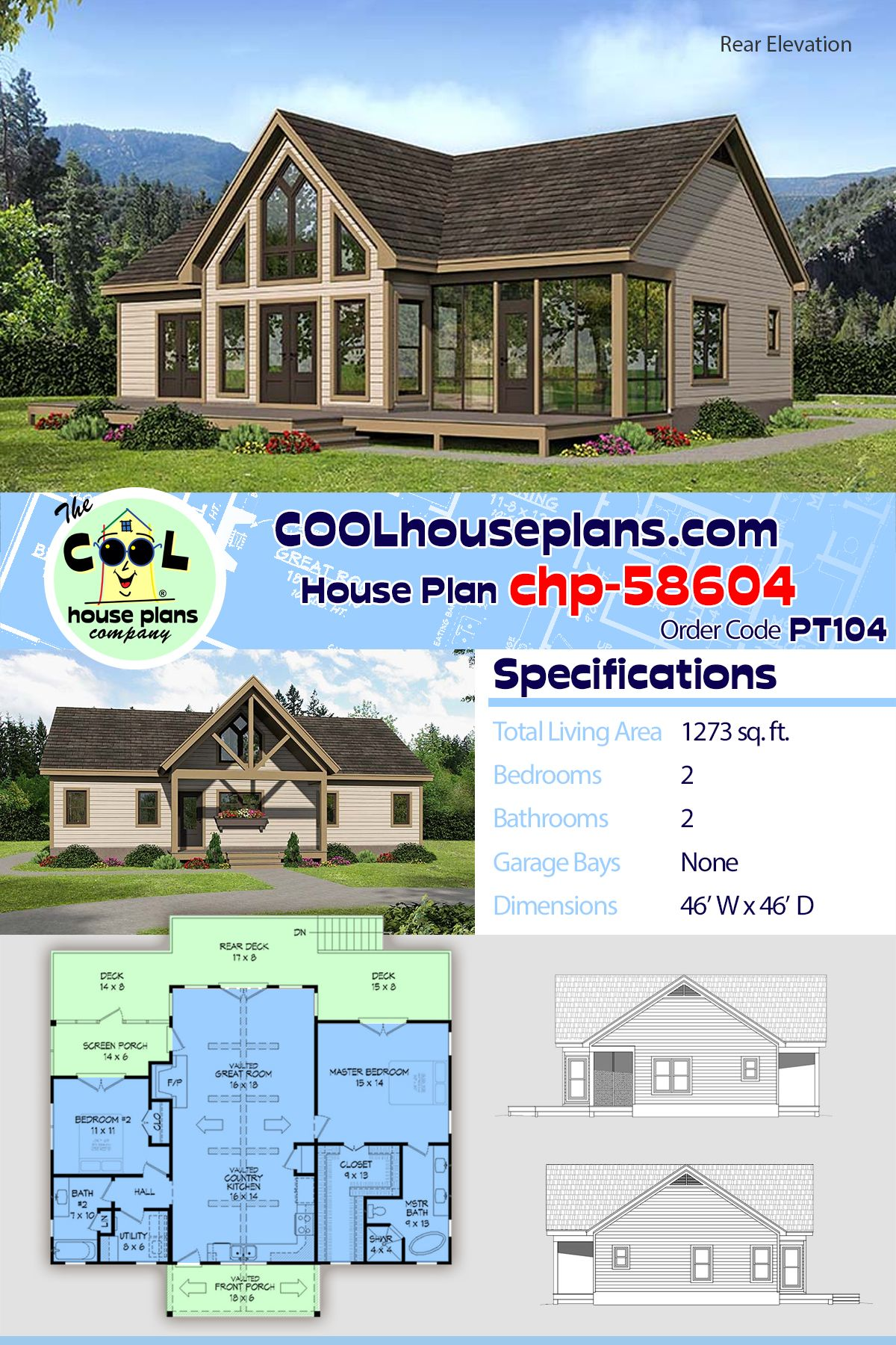Traditional Style House Plan 51547 With 2 Bed 2 Bath Beach House Plans Ranch House Plans Lake House Plans