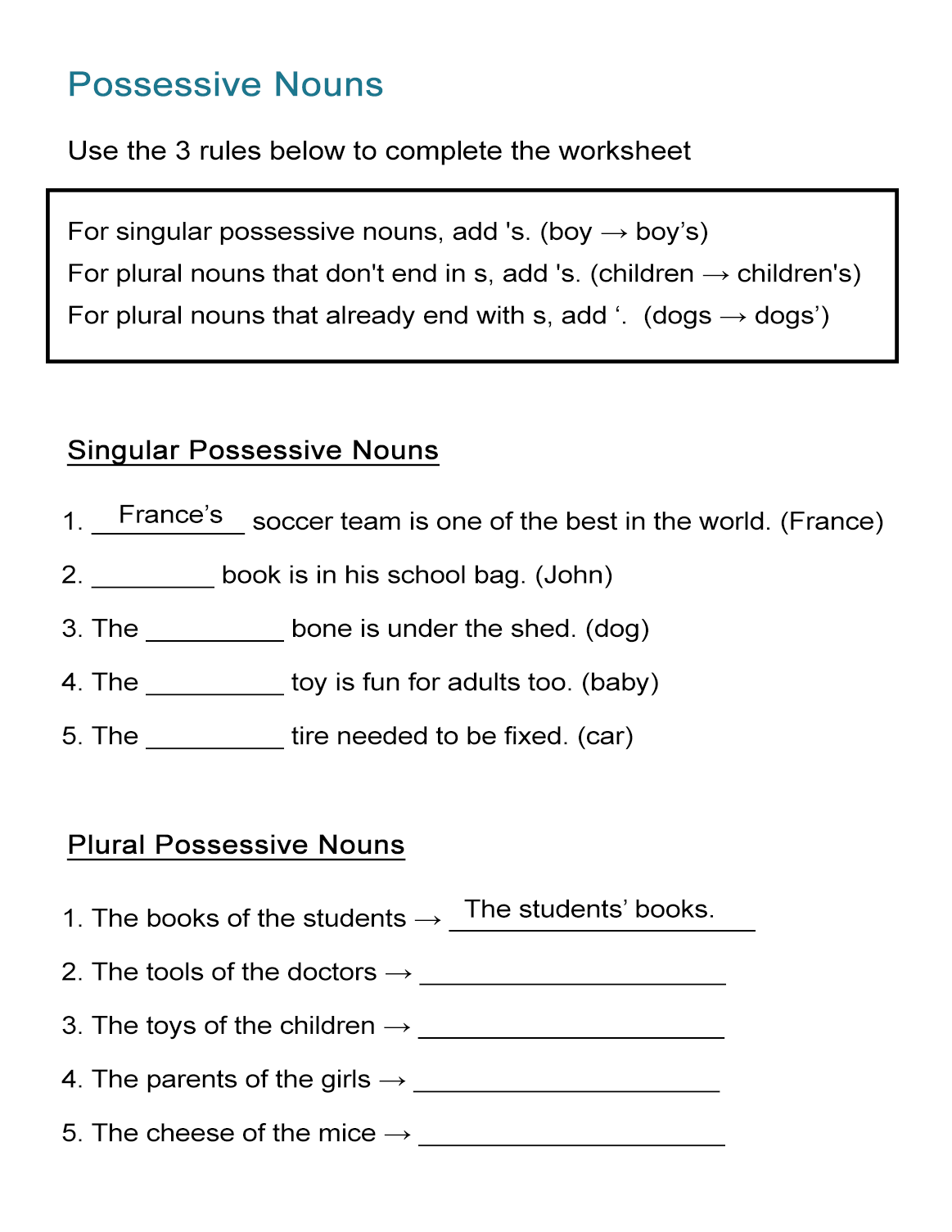 37 Clever Possessive Nouns Worksheets Design With Images
