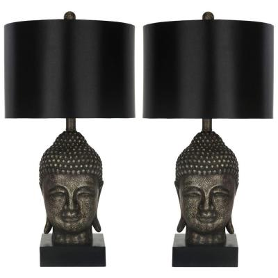 Safavieh Buddha 24 5 In Antique Gold Table Lamp With Satin Black Shade Set Of 2 In 2020 Buddha Lamp Gold Table Lamp Lamp Sets