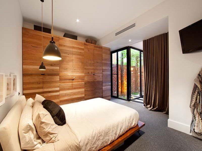 Dig the horizontal grain built in and the bedside pendent lights