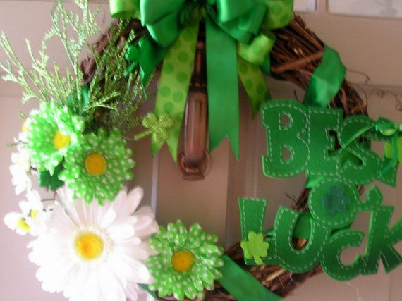 Happy St. Patrick's Day in Polka dots and Kelly Green Wreath by EightTreeStreet