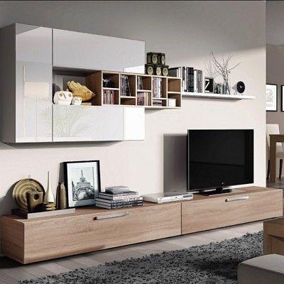 Photo of ESMERALDA parete attrezzata bianco / legno mobile tv moderno casa soggiorno sala # …