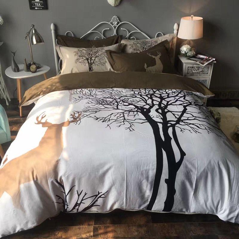 Tree And Deer Bedding Set Cotton Deer Tree Natural Duvet Cover Set Queen King Size Sanding Peach Fabric Pill Queen Bedding Sets Bed Comforter Sets Bedding Sets