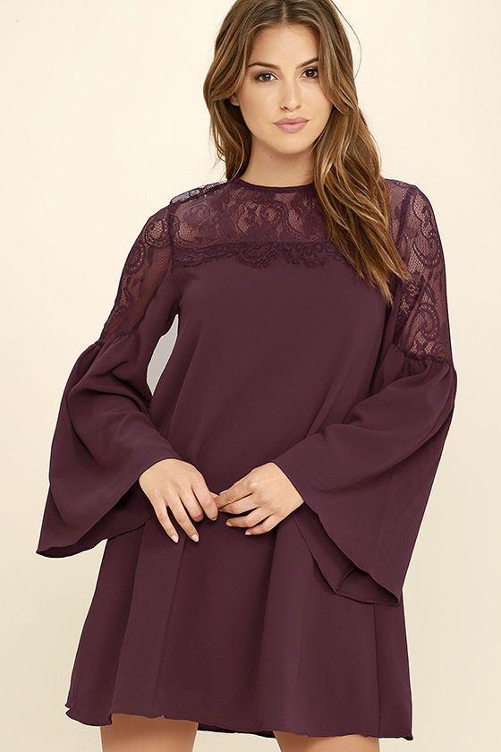 Chic Burgundy Lace Dress - Long Sleeve Dress - Bell Sleeve Dress -  58.00 6ba3d3617