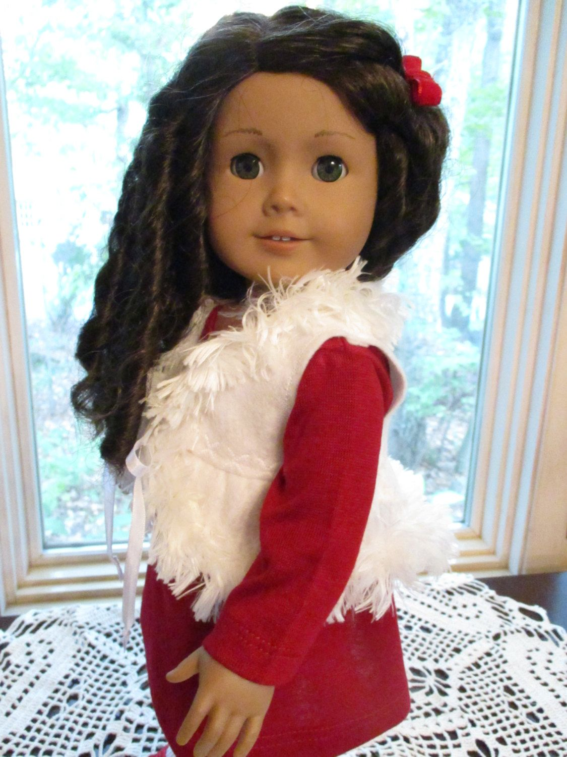"""60's Red Doll Dress with Furry Felt Vest to fit your 18"""" American Girl Doll by…"""