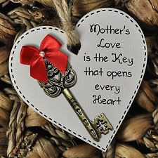 Mother's Day Love is the Key White Wooden Heart Gift Plaque or Magnet #1