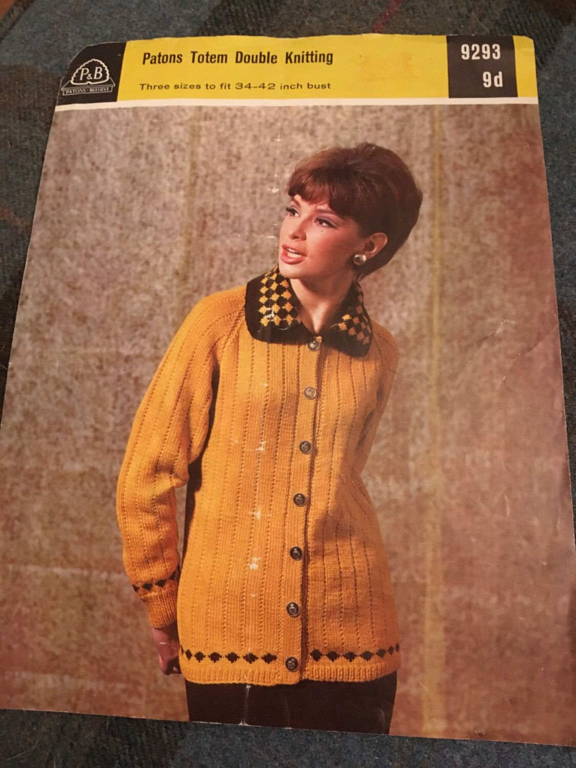 02140441118d Vintage 1960s Patons Knitting Pattern- Women s Cardigan with Collar ...