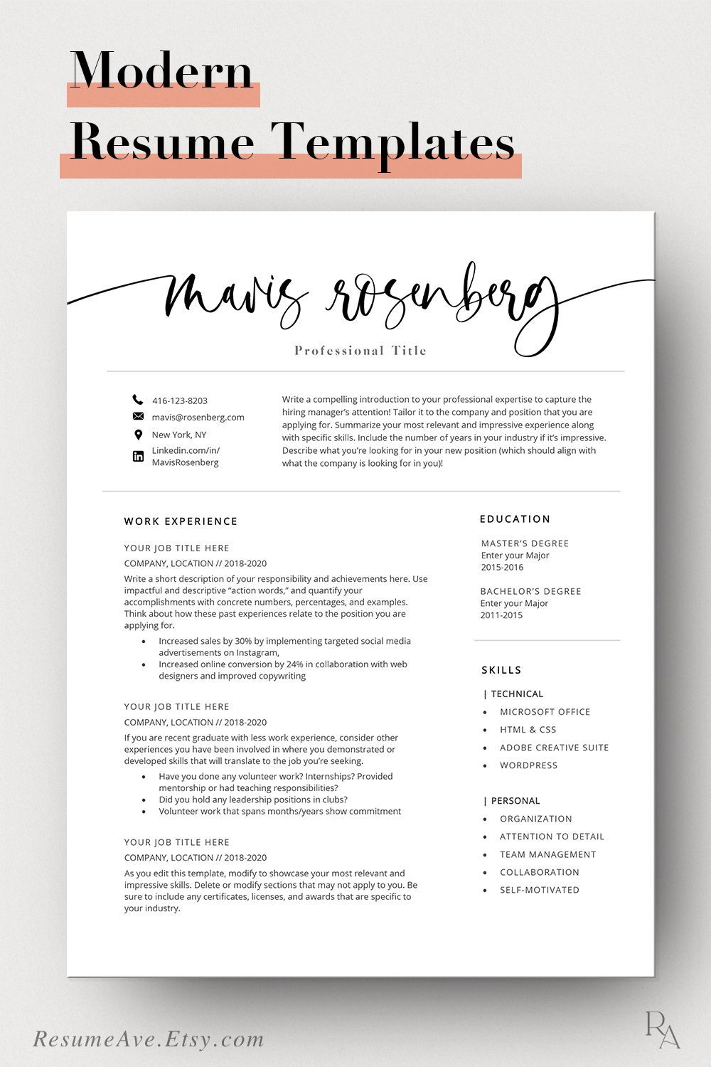 Resume template instant download with calligraphy name