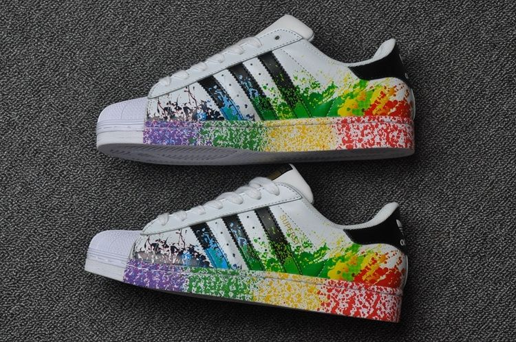 f182ceadc72 Adidas Originals Superstar Pride Pack Shoes D70351 Lgbt Rainbow Paint-  since I usually wear neutrals from the ankle up