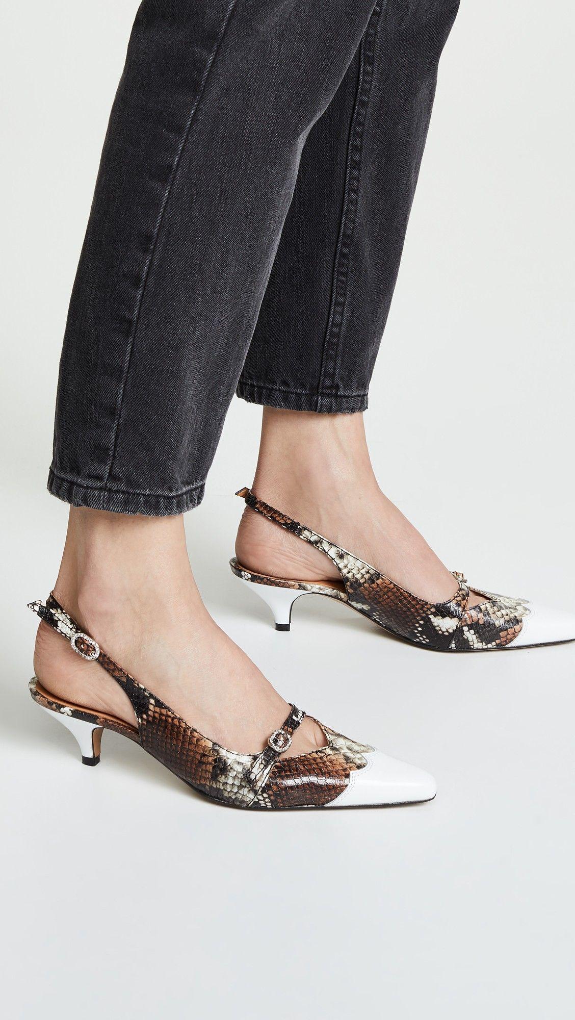 Ganni Snake Kitten Heels Shopbop Heels Kitten Heels Womens Fashion Shoes