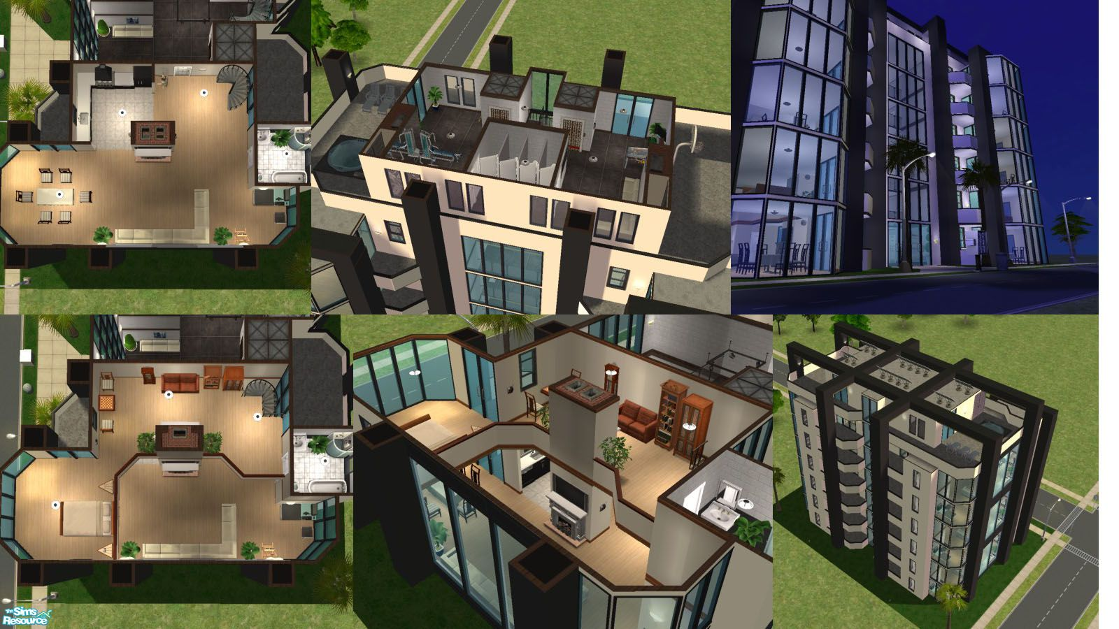 This highrise consists of 6 twostory suites, with open