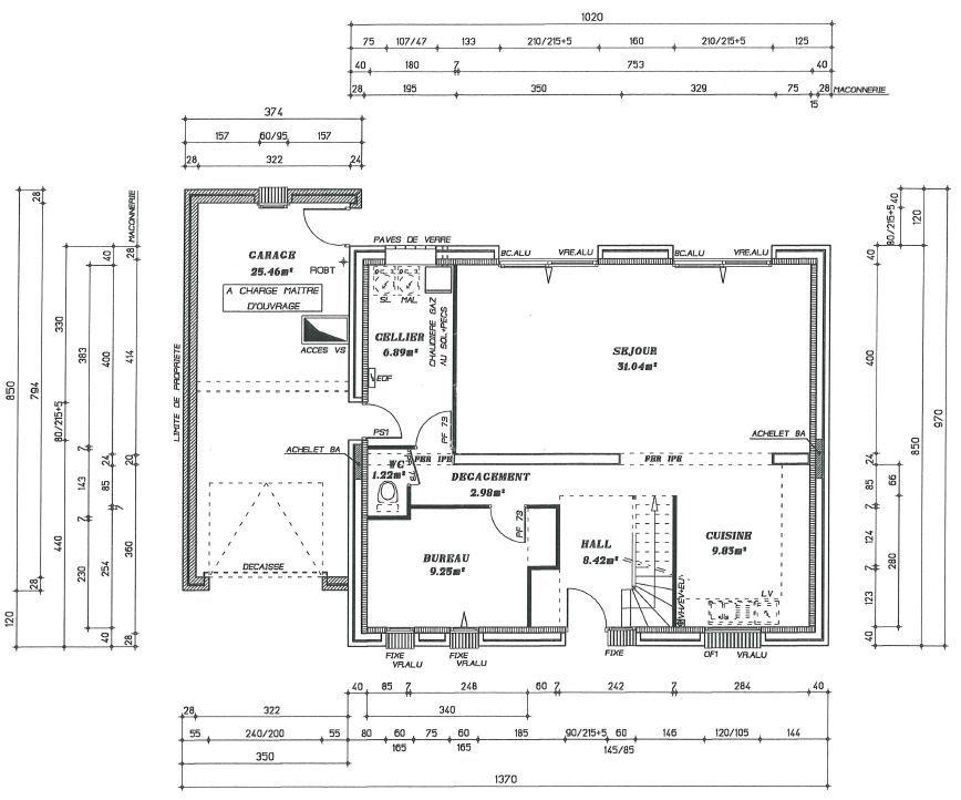 Plan RDC permis de construire Maison - Plans Pinterest