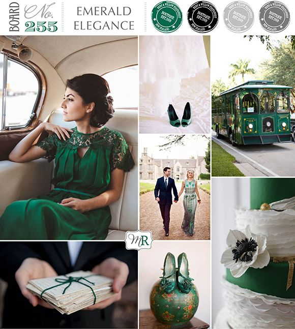 Snippets, Whispers & Ribbons #76 Emerald Elegane Wedding Inspiration Board No255a from Magnolia Rouge