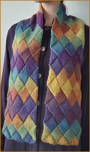 Mochi Plus Entrelac Scarf - Crystal Palace Yarns - free knit scarf pattern