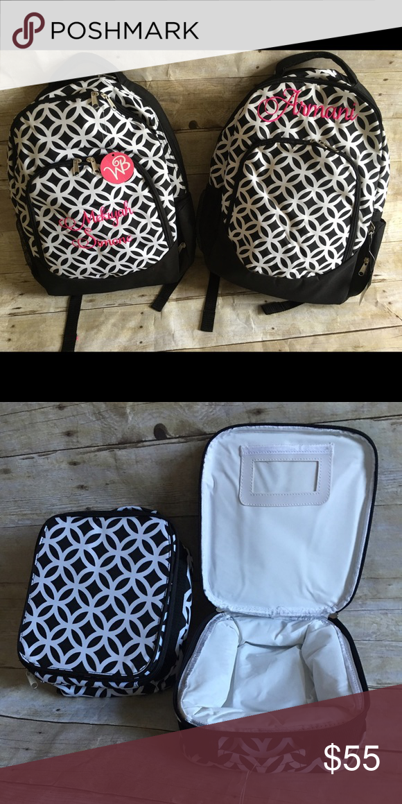 Backpack and lunch tote Black and white coordinating backpack and lunch tote. Personalized with name or initials on each. New with tags wb Accessories Bags