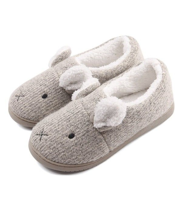ed2d506e5b2 Women Comfort Plush Cozy Home Slippers Animal Non Slip Indoor Shoes - Grey  - CT1860H8YZ5