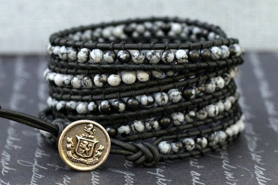 5 wrap bracelet- snowflake obsidian on black leather- black, grey and silver