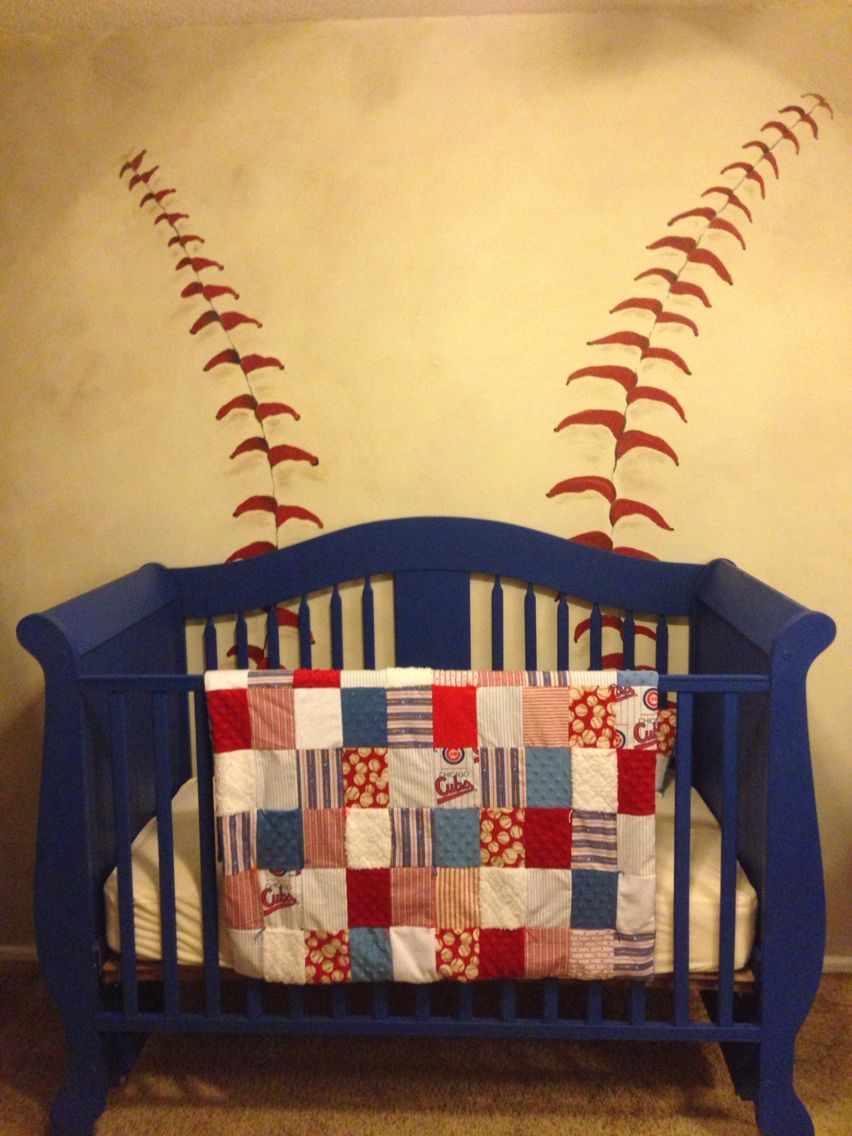 Baseball wall for a Chicago Cubs Nursery   Briggs\' Room   Pinterest ...