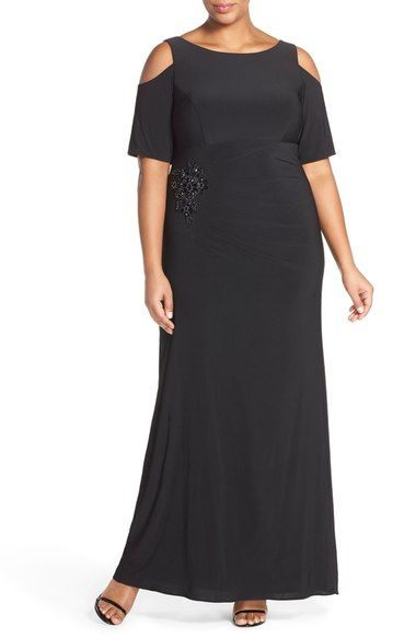 c0e407cbea Xscape Cold Shoulder Gown with Bead Embellishment (Plus Size) available at  Nordstrom  Sale   125