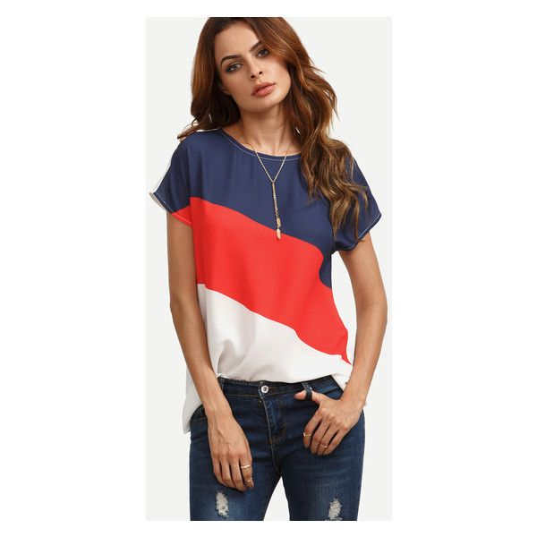 Colorblock Casual Short Sleeve Blouse (270 UYU) ❤ liked on Polyvore featuring tops, blouses, colorblock blouse, color block blouse, short sleeve tops, colorblock top and short-sleeve blouse
