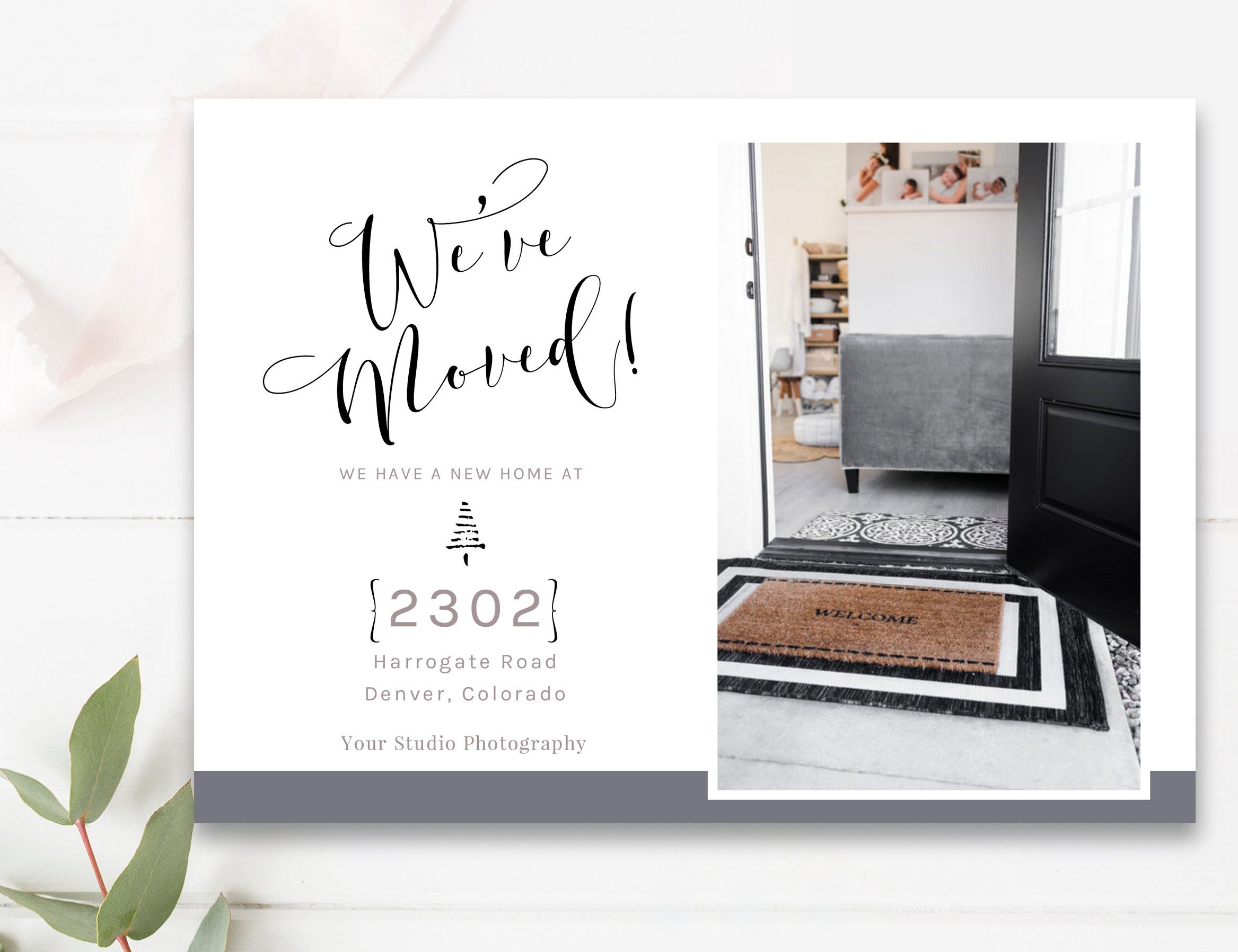 We Ve Moved Announcement Card With Pictures New Address Etsy Weve Moved Announcements Photo Card Template Moving Announcement Photo