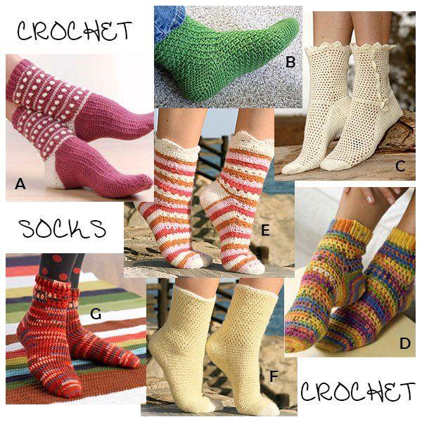 Seven Free Patterns For Crochet Socks Crochet Pinterest