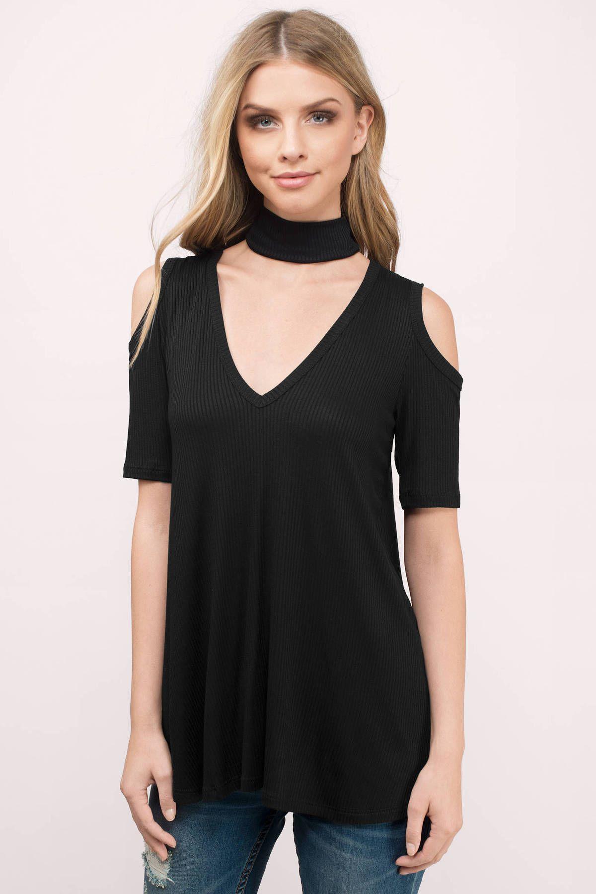 7b57470828c3c Bethany Cold Shoulder Choker Top at Tobi.com  shoptobi