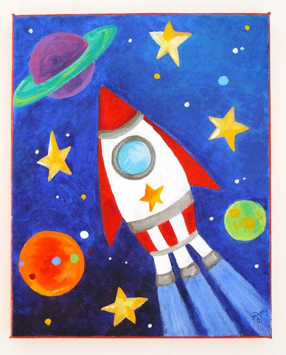 Art for kids space trio set of 3 8x10 acrylic paintings for Canvas art ideas for kids