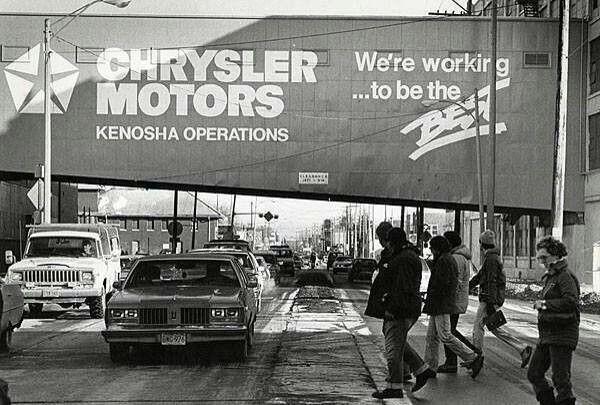 Vintage Chrysler Motors Overpass 52nd St Looking East Kenosha