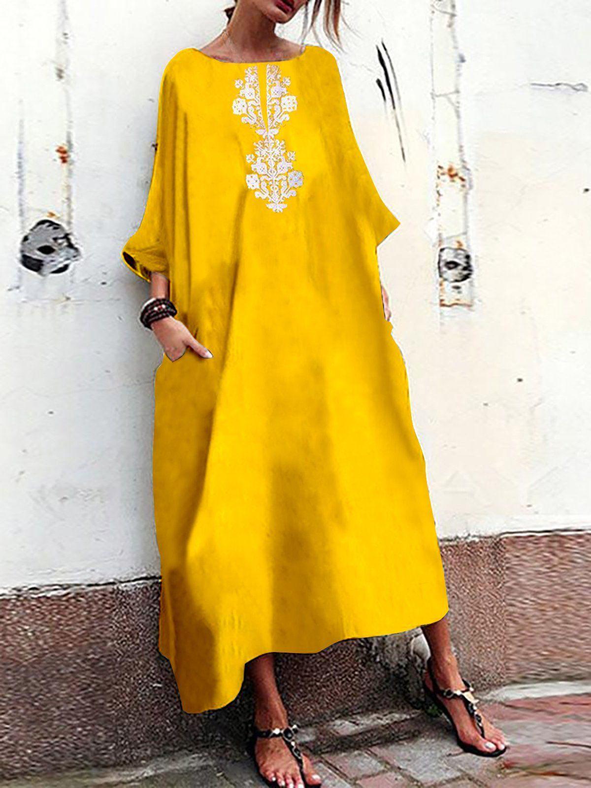ee2361da6ca Yellow Polyester Stripe Floral Summer Dress