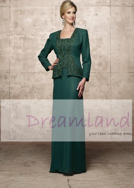 Dreamland Emerald Green Mother Of The Bride Dresses With Jacket Floor Length Bateau Long Sleeves Beading