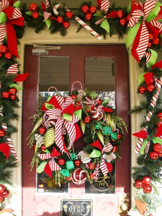 Candy Cane inspired Christmas door decorations