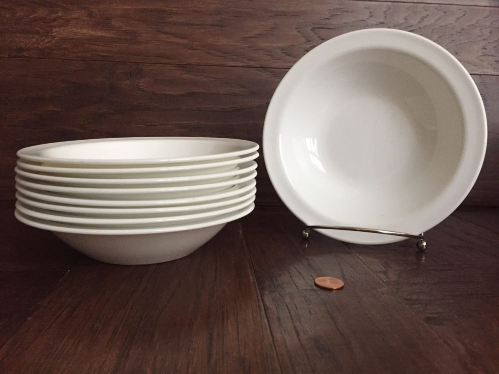Set Of 9 Corning Usa White Rimmed 7 Quot Soup Cereal Salad