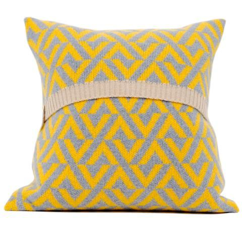 Geo knitted cushion in yellow and grey